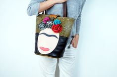 Frida Leather & Canvas Bag/Black Leather - $130.39. #LetsCurate #Greece