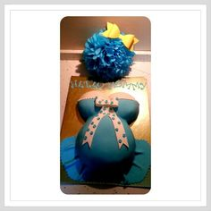 Hello mommy, pregnant cake, blue