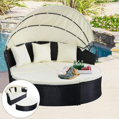 Goplus Goplus Outdoor Patio Sofa Furniture Round Retractable Canopy Daybed Black Wicker Rattan