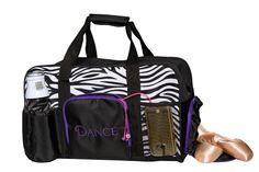 4011 Oreo XL Gear Duffel Dance Bags, Keep Shoes, Cell Phone Holder, Bright Purple, Zebra Print, Oreo, Separate, Gym Bag, Shoulder Strap