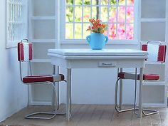 Vintage White Red Kitchen Table Chairs 1 6 Scale Use with Barbie Silkstone   eBay