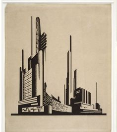 Yakov Chernikhov, Factory building, Ca. 1931, Drafting pen, ink and pencil, 298 x 248 mm. Image Courtesy of the Tchoban Foundation