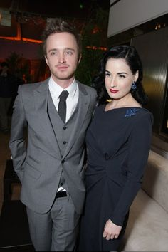 """Aaron Paul and Ditta Von Teese at the Premiere Screening of """"Breaking Bad"""".  © Eric Charbonneau/WireImage.com                     So much hotness in one picture, overwhelming!"""