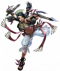 Talim: Soul Series. Wields bladed tonfa known as elbow blades. The most pure-hearted out of the Soul series character.