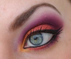 with sugarpill      Hema Eyeshadow Base      NYX Jumbo Pencil. Milk      Makeup Store, Beautiful Morning      Gosh Effect Powder, Red Fox      Sugarpill Poison Plum      Inglot eyeshadows AMC 74, Matte 325, AMC 84      Sleek Circus palette, orange, white and yellow eyeshadows      Catrice gelliner Black Jack with Jack Black      Essence Multi Action False Lashes Mascara