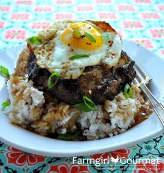 Teriyaki Loco-Moco ~ A quick and satisfying bowl of rice, hamburger patty, fried egg and topped with homemade teriyaki sauce and brown gravy. It may not be beautiful, but it's Heaven in a bowl.