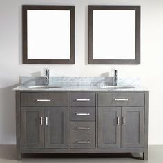 Double Sink Bathroom Vanity Kalize 63 French Gray Finish