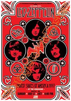 271 - LED ZEPPELIN - 17 July 1977 Seattle , Usa - retro artistic concert poster #zibbet