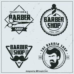 Урожай магазин логотипы плоским парикмахера