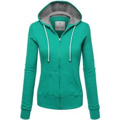 FPT Womens Basic Thermal Zip-Up Hoodie ($28) ❤ liked on Polyvore featuring tops, hoodies, thermal hooded sweatshirts, hoodie top, zip up hoodie, thermal tops and green top