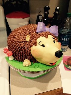 A Hedghog cake  for a little girls birthday.