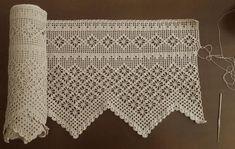 Angelica is wonderful when applied to curtains, decorative towels, bedspreads. Filet Crochet, Crochet Lace Edging, Crochet Borders, Cotton Crochet, Crochet Trim, Diy Crochet, Hand Crochet, Crochet Patterns, Crochet Curtains