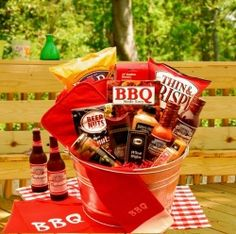 "raffle basket ideas for men - ""BBQ"" basket- maybe with  grilling utensils included!"