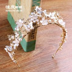 1667633d1 Vintage Gold Wedding Bridal Pearl Crystal butterfly Crown Tiara Hair  Accessories