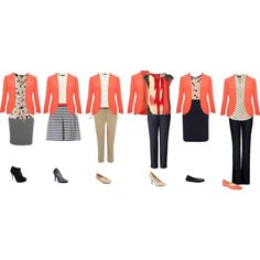"""Coral blazer for work"" by hii-live on Polyvore    Great for a teacher outfit!"