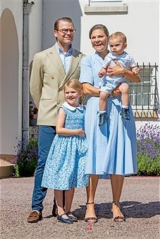 Crown Princess Victoria of Sweden, Prince Daniel of Sweden, Princess Estelle of Sweden and Prince Oscar of Sweden is seen meeting the people gathered in front of Solliden Palace to celebrate the 40th birthday of Crown Princess Victoria of Sweden on July 15, 2017 in Borgholm, Sweden.
