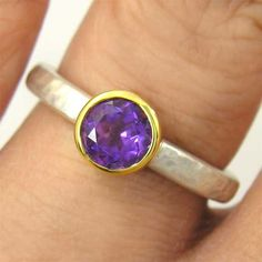 Round Purple Amethyst Ring  Recycled 14k White & by ChadaSoph, $399.00