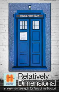 NOTE: Will ship by June 4th 2014!!Get ready to make a fun Police Box quilt for your favorite sci-fi fan! This pattern is all pieced with straight seams, so it's easy for a confident beginner to make!Optional custom Spoonflower Companion FQ for words at http://www.spoonflower.com/fabric/3031480 Pattern includes full sized word sections for tracing for other methods if desiredYardage:Dark Blue - 1 1/8 yardsMedium Blue - 2 yardsBackground - 1 3/4 yardsWindows ...