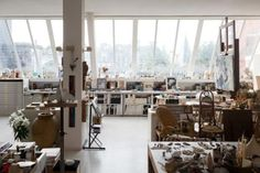 22 Home Art Studio Ideas. Love the natural light in this space!