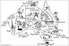 Australia map coloring page - annotated and illustrated map of Australia for kids to color in
