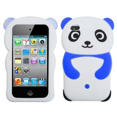 Cute 3D Panda Soft Silicone Case for Apple iPod Touch 4G - Blue