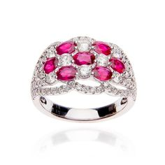 Fink's 18K White Gold Ruby and Diamond Cluster Ring