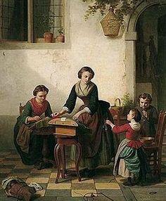 Les dentellières. Huile sur toile 1858 de Basile de LOOSE (belge 1809 - 1885)