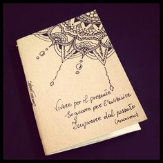 Illustrated notebook cover, zentangle design. Diy notebook A6 on recycled paper. Zenflower #02