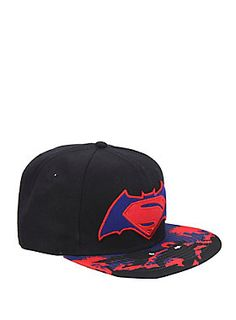 This cool snapback hat features both the Batman and Superman logos fused together to commemorate the most epic superhero showdown in history.