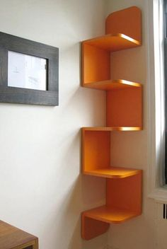9 Victorious Simple Ideas: Floating Shelves Different Sizes Small Spaces floating shelves diy easy.Floating Shelves Closet Bookcases floating shelves above couch interior design. Wood Corner Shelves, Wall Shelves Design, Wall Shelving, Corner Bookshelves, Creative Bookshelves, Corner Storage, Bookshelf Design, Book Storage, Home Decor Ideas