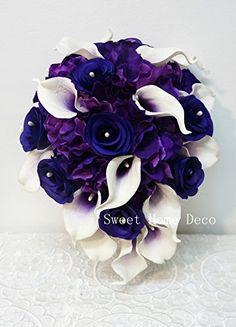 Sweet Home Deco Real Touch Calla Lily Wedding Bride Bouquet/ Boutonniere/ Corsage Artifiial Flower Wedding Flower Package (Purple-Cascading/Calla Lilies/Rose/Hydrangeas) Sweet Home Deco http://www.amazon.com/dp/B00PRBEO7W/ref=cm_sw_r_pi_dp_8QxBub1KXQD37