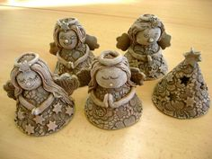 Clay Projects, Projects For Kids, Clay Angel, Pottery Angels, Ceramic Angels, Clay Fairies, Play Clay, Ceramic Painting, Clay Art