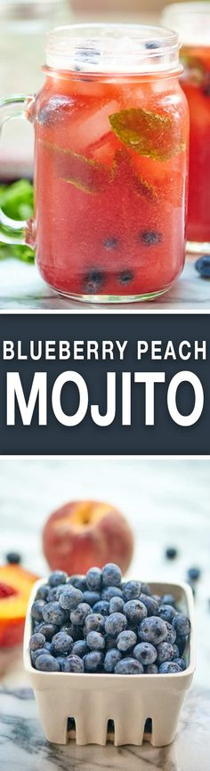 This Blueberry Peach Mojito is the drink of all summer drinks! Peach puree, a homemade blueberry simple syrup, fresh mint, and rum. It's cocktail time! showmetheyummy.com #mojito #cocktail