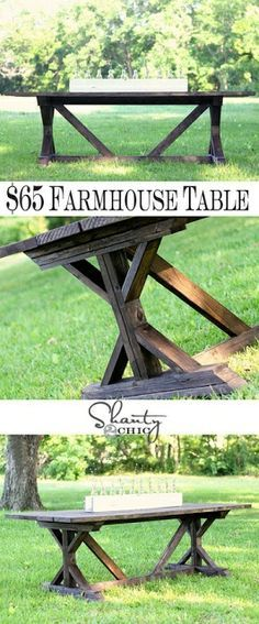DIY Antropologie Inspired Fancy X Farmhouse Table {gorgeous harvest table!} For a nice picnic table for the backyard Diy Dining Table, Diy Farmhouse Table, Dining Rooms, Farmhouse Windows, Outdoor Dining, Farmhouse Furniture, Farmhouse Plans, Outdoor Tables, Rustic Outdoor