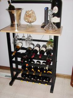 This wine rack holds 24 bottles of wine -- perfect for storing your collection and creating a new workspace in your kitchen!