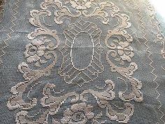 Lindo-Vintage-Handmade-De-Toalha-De-Mesa-Renda-File