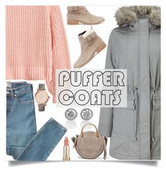 """""""Puffer Coat"""" by branqa ❤ liked on Polyvore featuring H&M, Phase Eight, Everlane, Sole Society, FOSSIL, L'Oréal Paris and Chloé"""