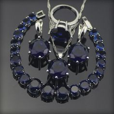 Best Buy $14.15, Buy blue cubic zirconia silver 925 costume jewelry sets women earrings/rings/necklace/bracelet Sets Free Box New Year's Products