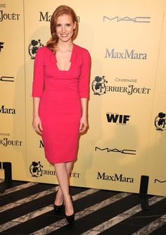 Jessica Chastain in ELIE SAAB cocktail dress to the Fifth Annual Women in Film Pre-Oscar Cocktail Party.