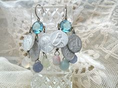 natural stone earrings medal religious by lilyofthevally on Etsy