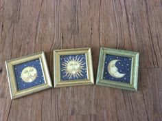Celestial Wall Art Sun Moon Stars Wall Hangings Set Cosmic Heavens Pictures 90s Hippie Boho by GoodLuxeVintage on Etsy