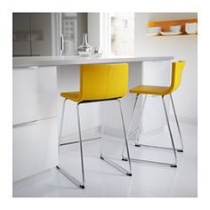 Bernhard Bar Stool With Backrest, Chrome Plated, Kavat Dark Yellow
