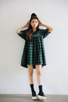 Lantern Sleeve Plaid Dress http://koreanfashionworld.com/product/lantern-sleeve-plaid-dress http://koreanfashionworld.com/category/korean-dress