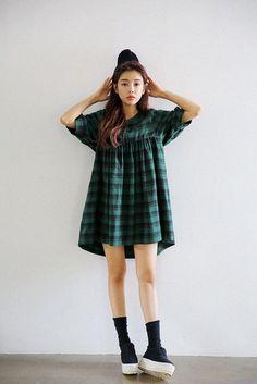 Lantern Sleeve Plaid Dress http://koreanfashionworld.com/product/lantern-sleeve-plaid-dress http://koreanfashionworld.com/category/korean-dress