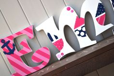 Personalized Wooden Wall Letters for Kids' Rooms - Girls Nautical theme - Sail Boats, Stripes, Polka dots, Anchors, Buttons on Etsy, $10.00