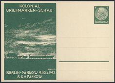 Germany, German Empire, Deutsches Reich 1937, 6 Pfg.-GA-Privatpostkarte, zur Kolonial-Briefmarken-Schau in Berlin Pankow, ungebraucht (Mi.-Nr.PP127C25). Price Estimate (8/2016): 15 EUR. Unsold.