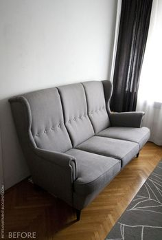 strandmon grey ikea sofa in living room