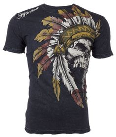 AFFLICTION Mens T-Shirt WINDTALKER Indian Skull Tattoo Biker UFC Vtg S-4XL $50 a #Affliction #GraphicTee