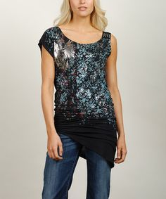 Loving this Adiktd Black & Blue Stud Asymmetrical Tee on #zulily! #zulilyfinds