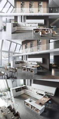 The open floor plan in this two-story apartment means that the kitchen really…